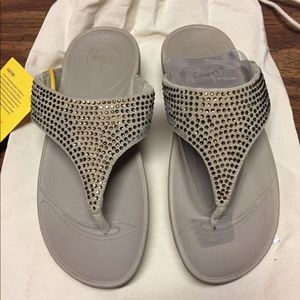 Fitflop Flare Thong Pebble Swarovski 6 NEW
